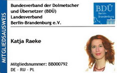 Mitgliedausweis Katja Raeke